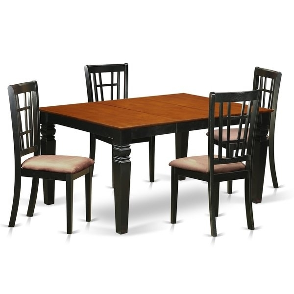 Weni5 Bch 5 Pc Dinette Set With A Dining Table And 4 Kitchen Chairs With Caden 5 Piece Round Dining Sets With Upholstered Side Chairs (View 15 of 25)