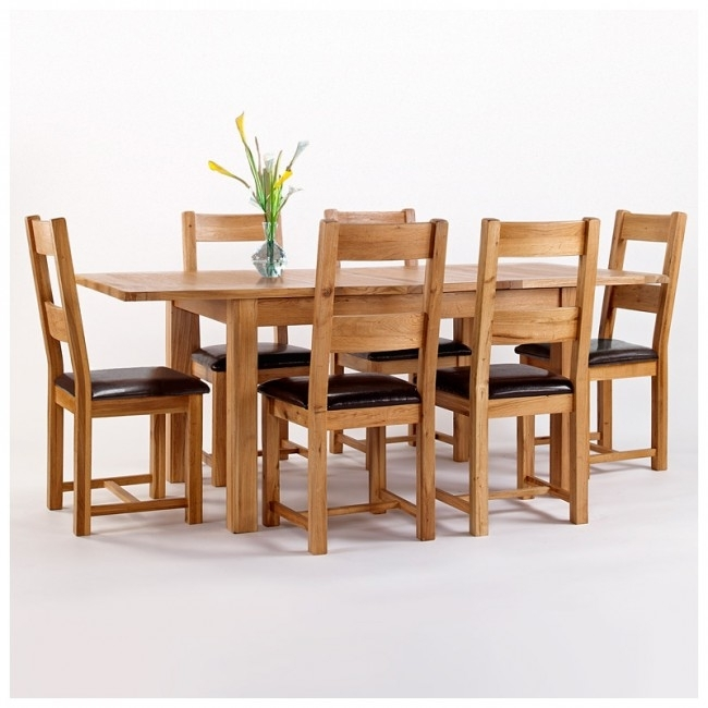 Westbury Rustic Oak Extending Dining Table Set | Best Price Guarantee For Oak Extending Dining Tables Sets (Image 25 of 25)