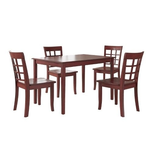 Weston Home Lexington 5 Piece Dining Set With Window Back Chairs In Cora 5 Piece Dining Sets (Image 24 of 25)