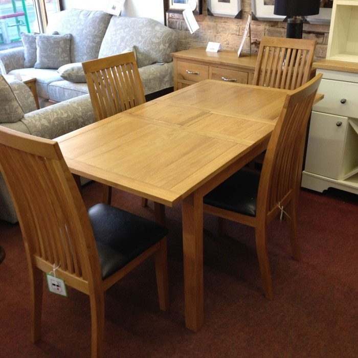 Wharfdale Extending Oak Dining Table With 4 Chairs – Flintshire Pertaining To Oak Extending Dining Tables And 4 Chairs (Image 24 of 25)