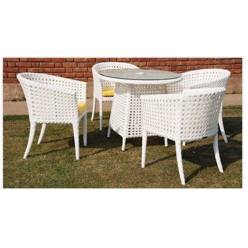 White 4 Seater Wicker Glass Top Dining Table, Rs 25000 /set | Id Intended For Wicker And Glass Dining Tables (Image 22 of 25)