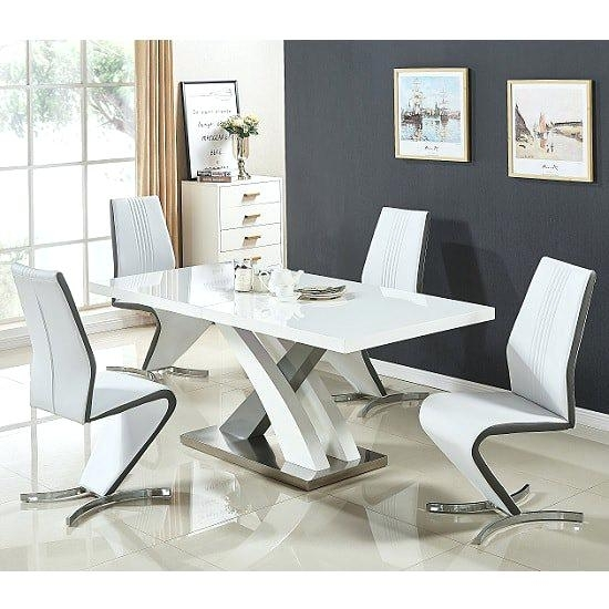 White And Grey Dining Table Set Small Gloss Extendable Dining Table With Small Extendable Dining Table Sets (Image 25 of 25)