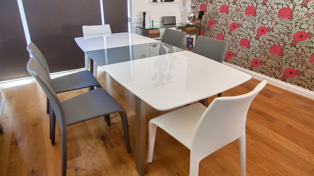 White And Grey Gloss Extending Dining Set | Seats 8 | Grey Or White For Grey Gloss Dining Tables (Image 24 of 25)
