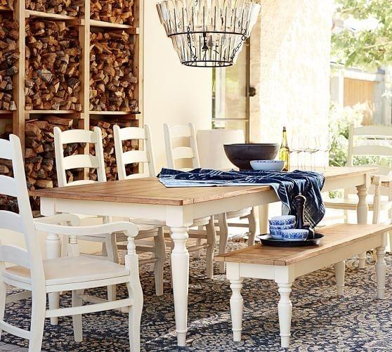 White And Tan Pearson Extending Dining Table Throughout Artisanal Dining Tables (View 5 of 25)