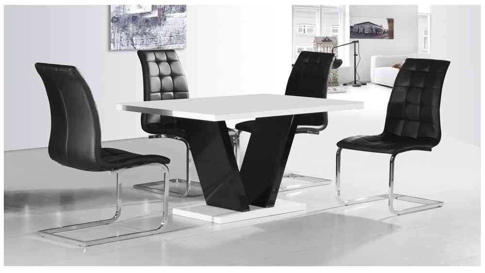 White & Black High Gloss Dining Table & 4 Chairs Set – Homegenies Regarding Black High Gloss Dining Tables And Chairs (View 7 of 25)