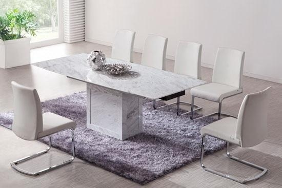 White/brown Extending Dining Table (Marble) – Kk Furniture Supplier For Extending Marble Dining Tables (Image 25 of 25)