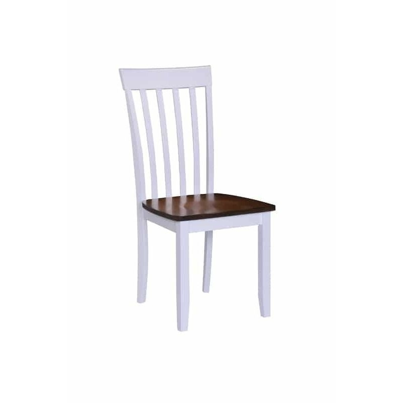White/brown Hardwood Slat Back Dining Chairs (Set Of 2) (Slat Back With Lindy Espresso Rectangle Dining Tables (View 10 of 25)
