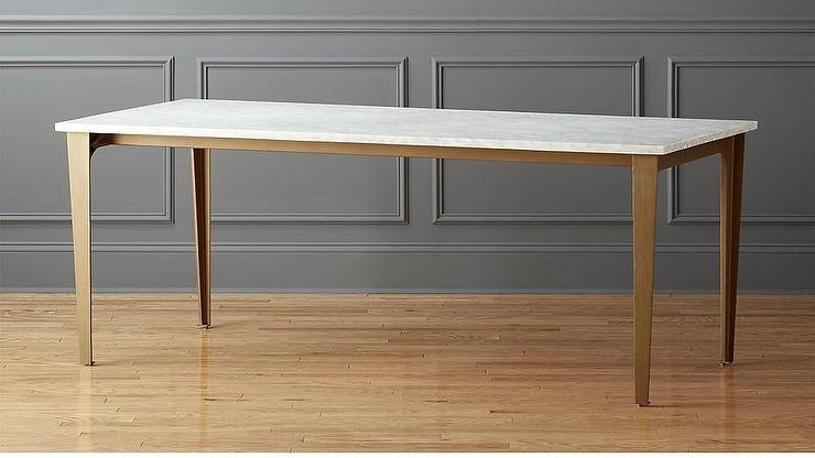 White Carrara Marble Rectangular Brass Legs Dining Table With Dining Tables With White Legs (Image 22 of 25)
