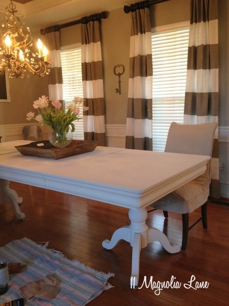 White Chalk Painted Dining Room Table & Monogrammed Chairs | 11 Intended For Painted Dining Tables (Image 24 of 25)
