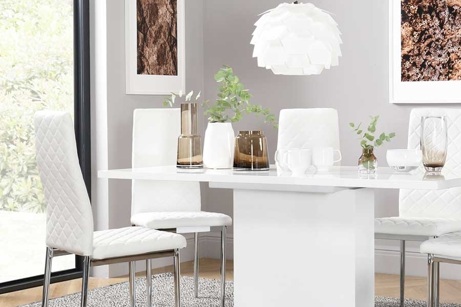 White Dining Sets – White Dining Table & Chairs| Furniture Choice Inside Shiny White Dining Tables (View 12 of 25)