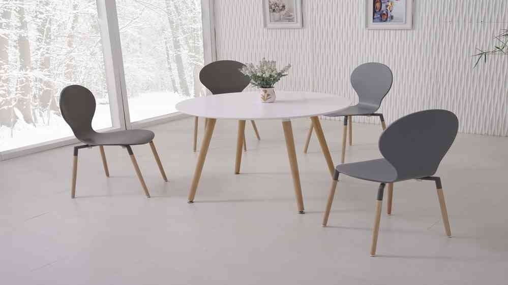 White Dining Table And 4 Grey Chairs – Homegenies With Regard To White Dining Tables And Chairs (Image 23 of 25)
