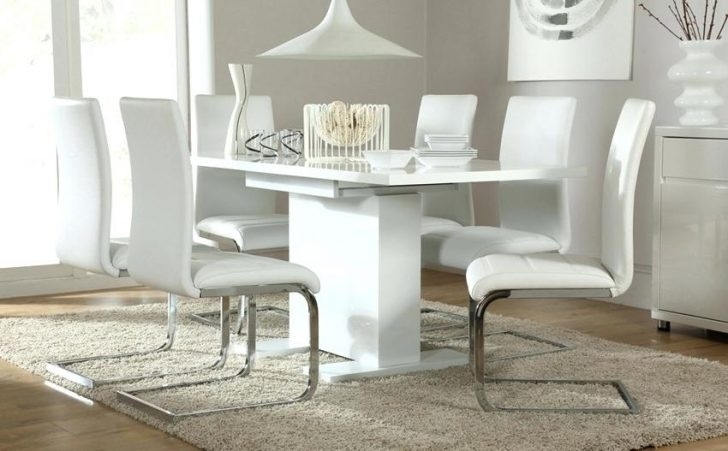 White Dining Table Chairs Large And Awesome Metal Kitchen Elegant Intended For White Extending Dining Tables And Chairs (Image 18 of 25)