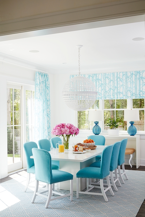 White Dining Table With Turquoise Blue Velvet Dining Chairs Within Blue Dining Tables (Image 22 of 25)