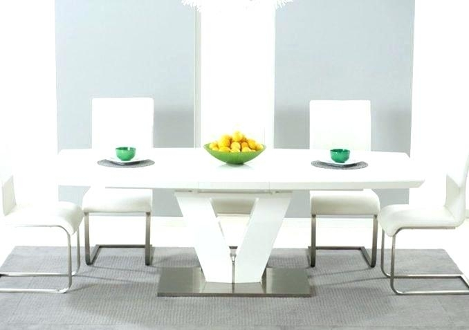 White Extending Dining Table And 6 Chairs White High Gloss Round Within High Gloss Round Dining Tables (View 20 of 25)