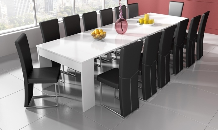 White Extending Table/console | Groupon Goods Within Combs Extension Dining Tables (Image 25 of 25)