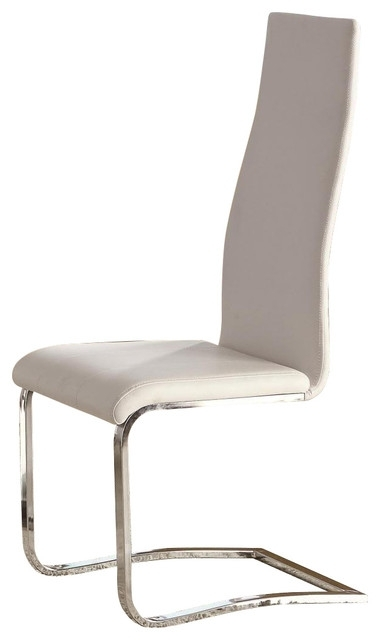 White Faux Leather Dining Chairs With Chrome Legs, Set Of 2 In Chrome Dining Chairs (Image 25 of 25)
