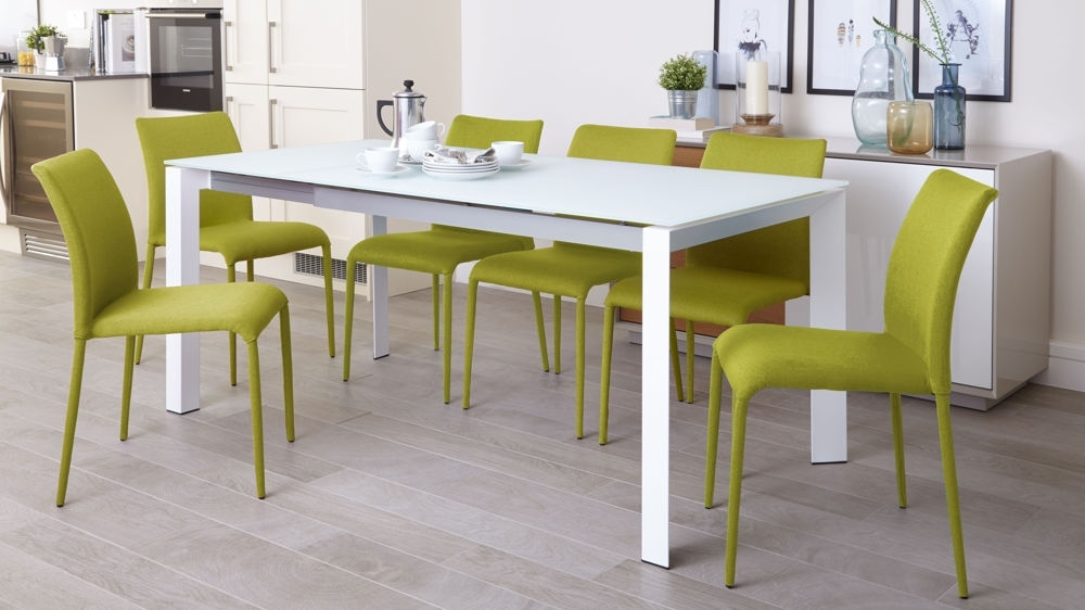 White Frosted Glass Dining Table | Extending Dining Table Inside Green Dining Tables (Photo 21 of 25)