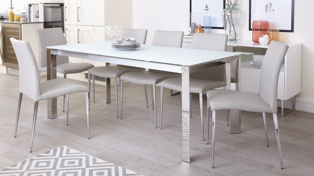 White Frosted Glass Extending Dining Table | Chrome Legs Inside Smoked Glass Dining Tables And Chairs (Image 24 of 25)