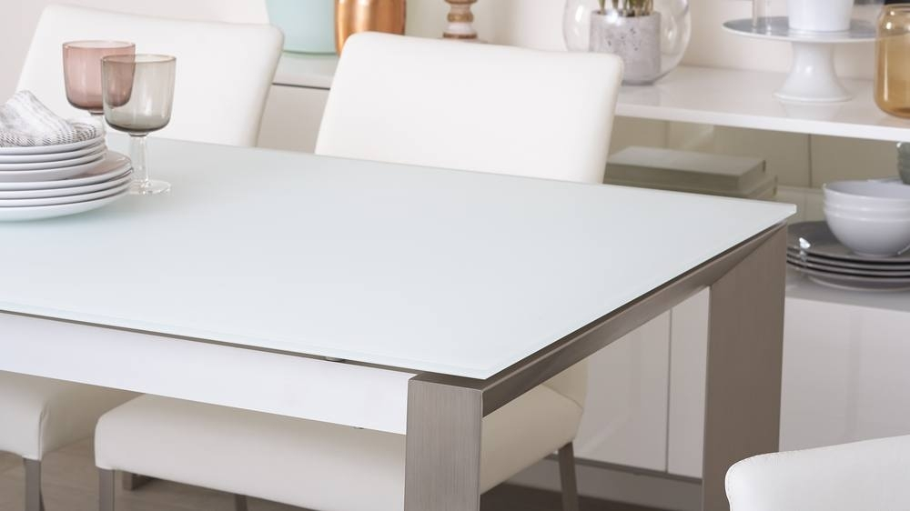White Frosted Glass Extending Dining Table | Uk Delivery For Glass Extending Dining Tables (Image 25 of 25)