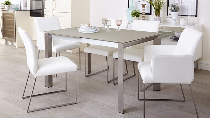 White Frosted Glass Extending Dining Table | Uk Delivery Inside Brushed Steel Dining Tables (Image 25 of 25)