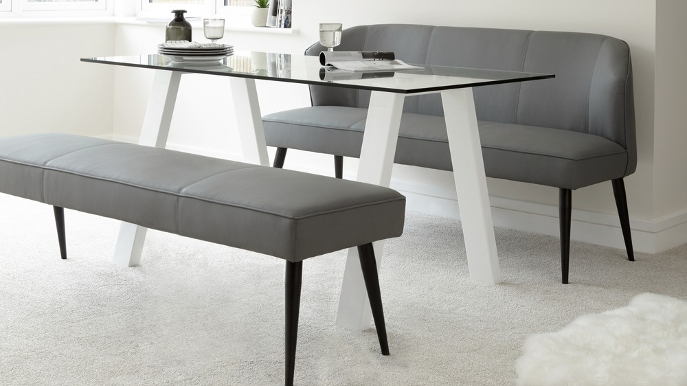 White Glass And Gloss Dining Table And Leather Bench Set With Glass And White Gloss Dining Tables (Image 23 of 25)