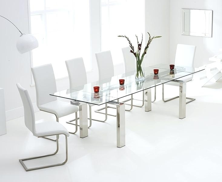 White Glass Dining Table Extending Extending Glass Dining Table With Inside Extendable Glass Dining Tables And 6 Chairs (View 13 of 25)