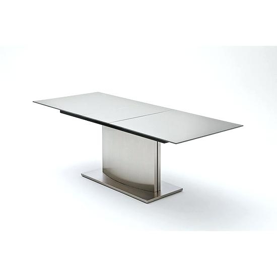 White Glass Dining Table Extending Memory Extendable Grey Glass Pertaining To Grey Glass Dining Tables (Image 25 of 25)