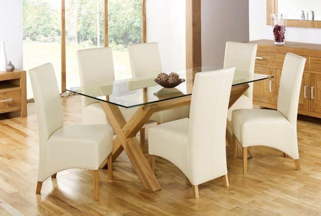 White Glass Dining Table Round Oak Dining Table Oak Round Dining Within Glass And Oak Dining Tables And Chairs (Image 25 of 25)