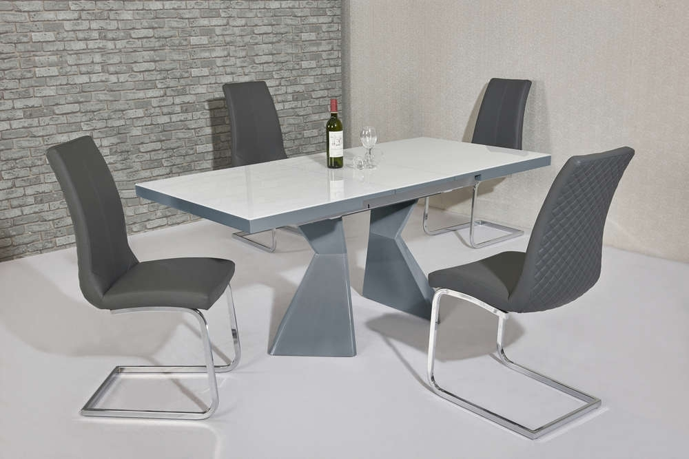 White Glass Grey Gloss Dining Table & 4 Grey Chairs – Homegenies Within Grey Gloss Dining Tables (Image 25 of 25)