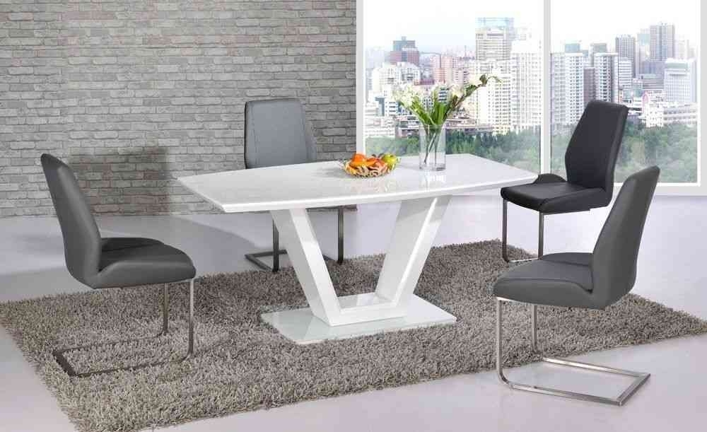 White Glass High Gloss Dining Table And 6 Grey Chairs  Homegenies In White Gloss And Glass Dining Tables (Image 25 of 25)