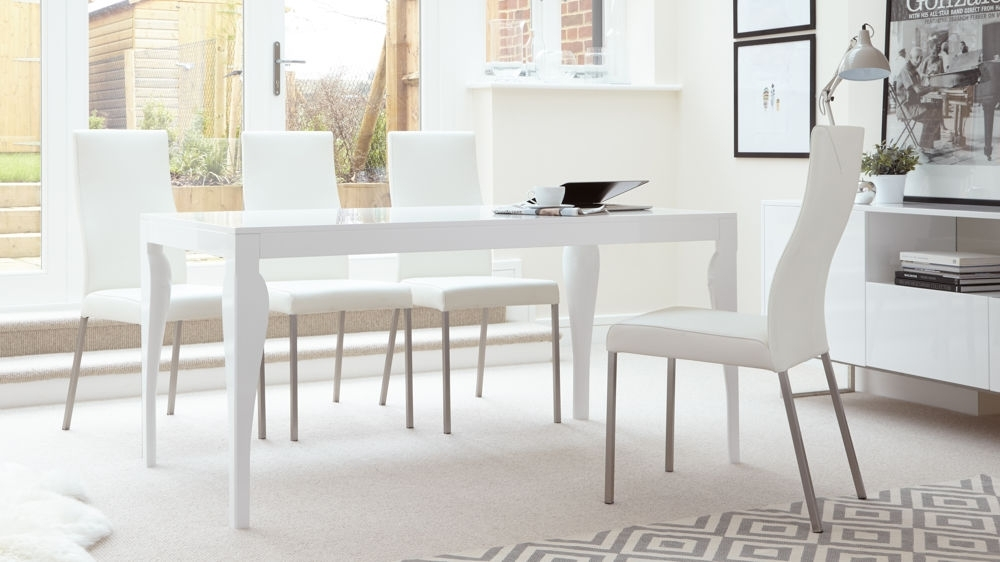 White Gloss 6 Seater Dining Set | Real Leather Chairs | Uk Throughout White Dining Tables And 6 Chairs (Image 24 of 25)