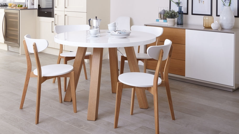 White Gloss And Oak 4 Seater Dining Set | Round Dining Table Within White Dining Sets (Image 24 of 25)