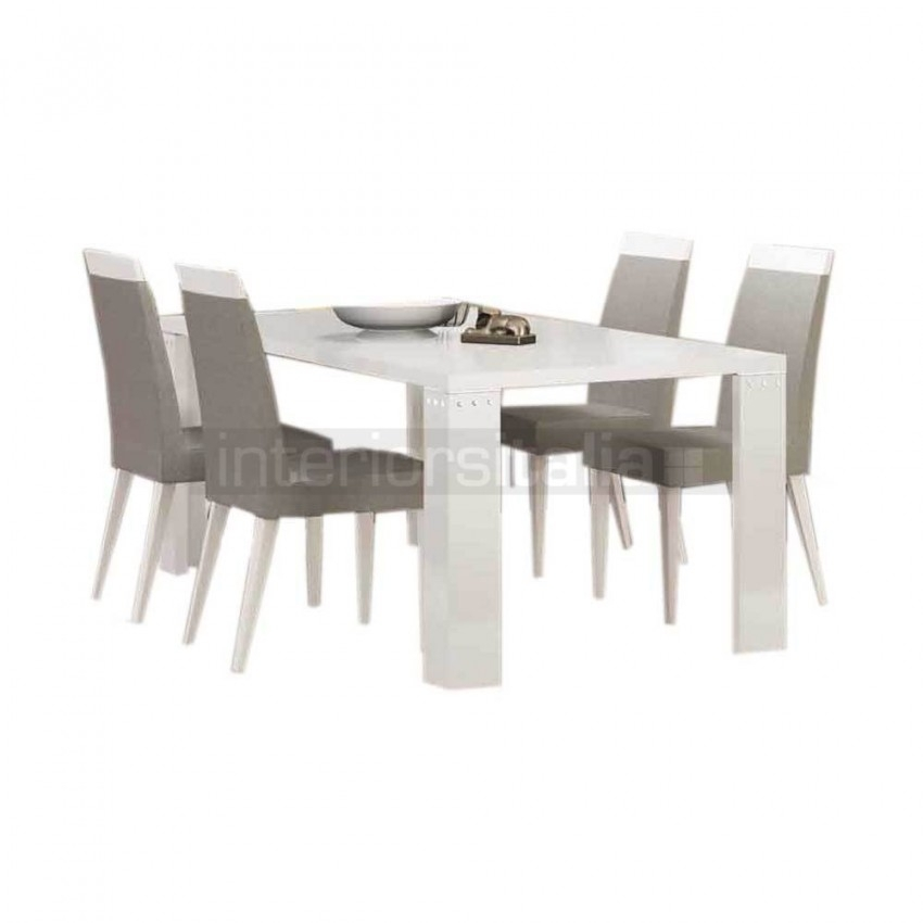 White Gloss Dining Set | Elegance Diamond | On Sale Intended For High Gloss Dining Chairs (Image 23 of 25)