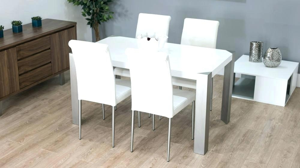 White Gloss Dining Set Extending White Gloss Dining Table Furniture Pertaining To White Gloss Dining Chairs (Image 25 of 25)
