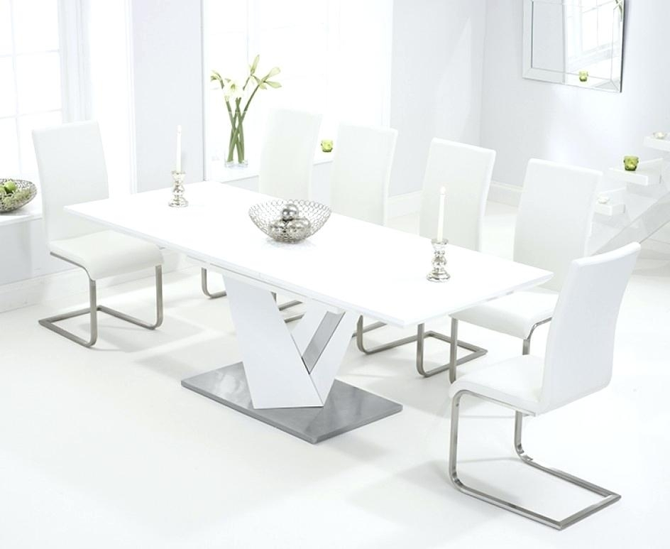 White Gloss Dining Set Extending White Gloss Dining Table Furniture Within Extending Gloss Dining Tables (Image 23 of 25)