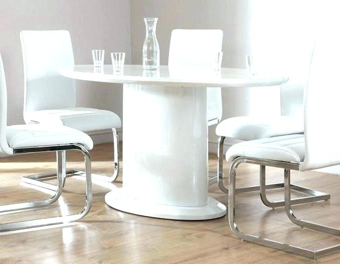 White Gloss Dining Set Modern White Gloss Dining Table Glass Legs Intended For White Gloss Dining Tables 140Cm (Image 18 of 25)