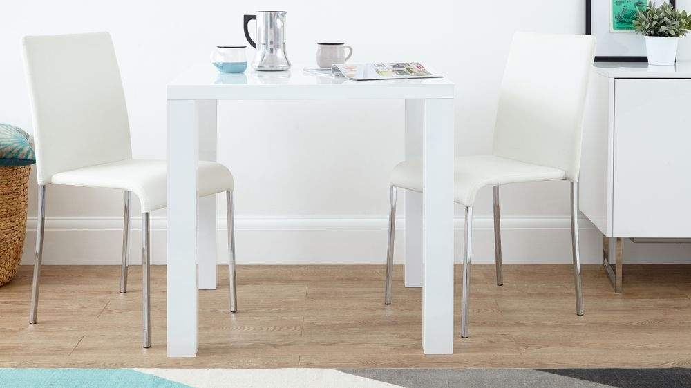 White Gloss Dining Set | Square Table Stackable Chairs | Uk Throughout Small White Dining Tables (View 2 of 25)