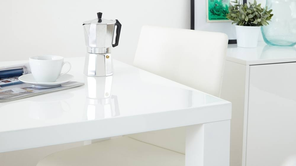 White Gloss Dining Set | Square Table Stackable Chairs | Uk Within White Gloss Dining Sets (View 14 of 25)
