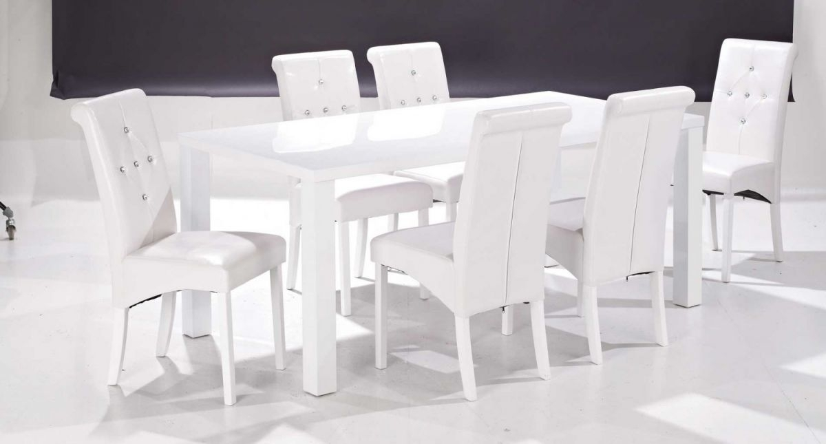 White Gloss Dining Table And 6 Chairs – Strawberryperl Throughout White Gloss Dining Tables And 6 Chairs (Image 24 of 25)