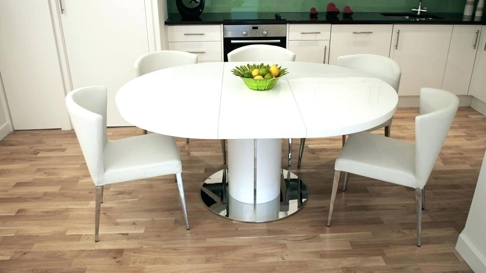 White Gloss Extending Dining Table Modern Black Round Dining Table Inside White Gloss Extending Dining Tables (Image 24 of 25)