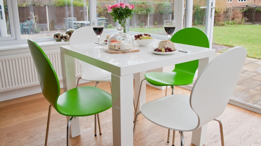 White Gloss Kitchen Dining Set | Colourful Dining Chairs Uk Intended For Kitchen Dining Sets (Image 25 of 25)