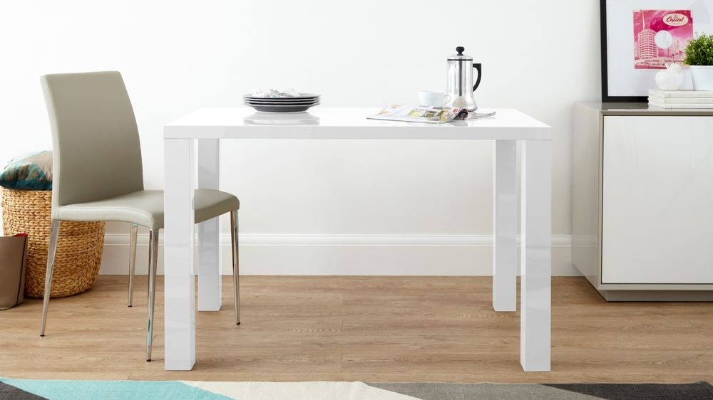 White Gloss Modern 4 Seater Dining Table | Danetti Uk Throughout Hi Gloss Dining Tables (View 24 of 25)