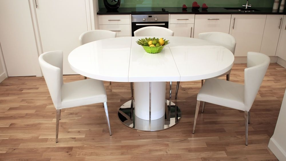 White Gloss Round Extending Dining Table – Buethe | Kitchen Throughout Extending Dining Sets (Image 24 of 25)