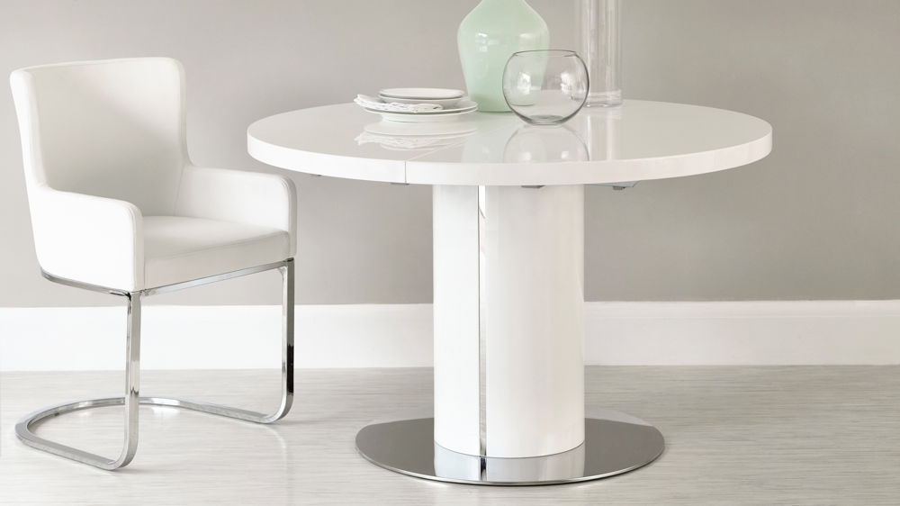 White Gloss Round Extending Dining Table Set Pertaining To Small White Extending Dining Tables (Image 24 of 25)