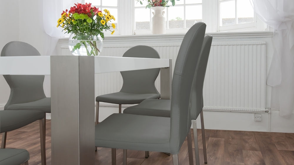 White Gloss Table & Grey Or White Faux Leather Chairs Dining Set Seats 6 Within White Gloss Dining Tables 140Cm (Image 24 of 25)