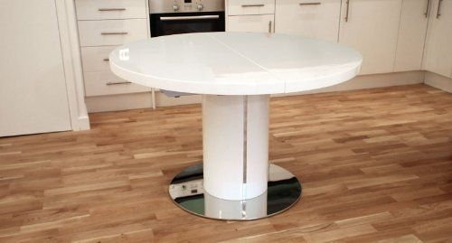White High Gloss And 1200Mm Extending To 1600Mm Curva Round White Within White Gloss Round Extending Dining Tables (View 10 of 25)
