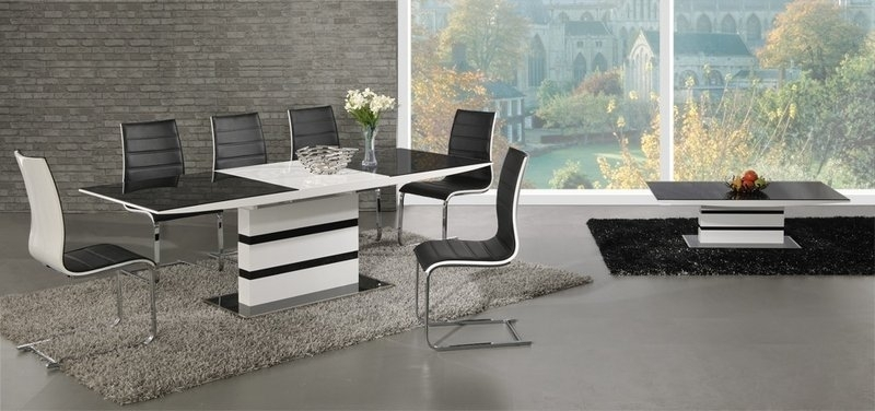 White High Gloss Black Glass Extending Dining Table And 6 Chairs With Black Glass Dining Tables 6 Chairs (Image 25 of 25)