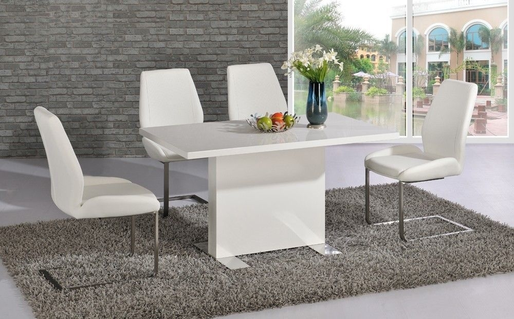 White High Gloss Dining Room Table And 4 Chairs – Homegenies For High Gloss Dining Room Furniture (Image 22 of 25)