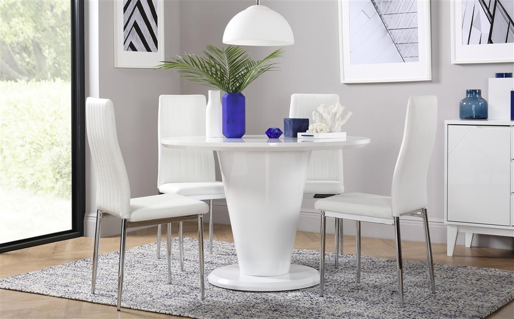 White High Gloss Dining Table And 4 Chairs Set | Ebay Inside High Gloss Dining Room Furniture (View 25 of 25)