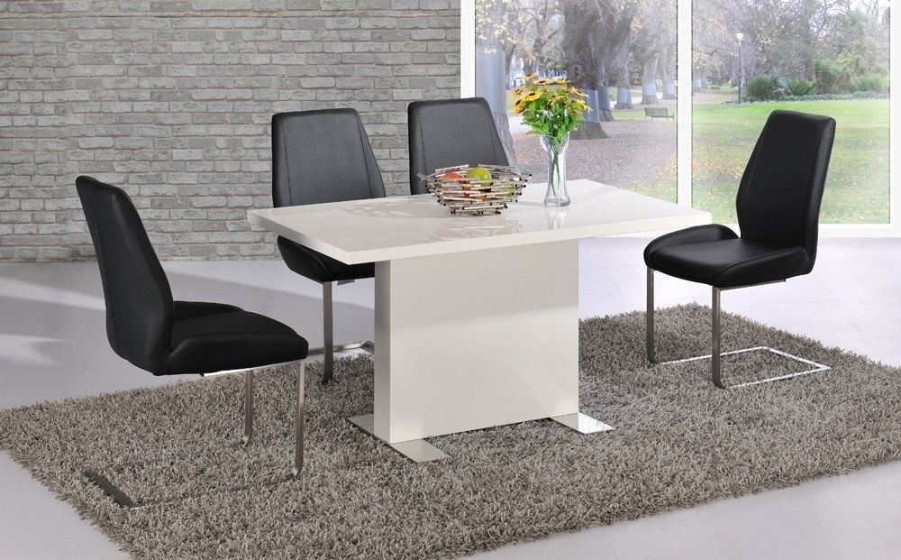 White High Gloss Dining Table Black Chairs Set Homegenies Intended For Gloss Dining Sets (Image 24 of 25)
